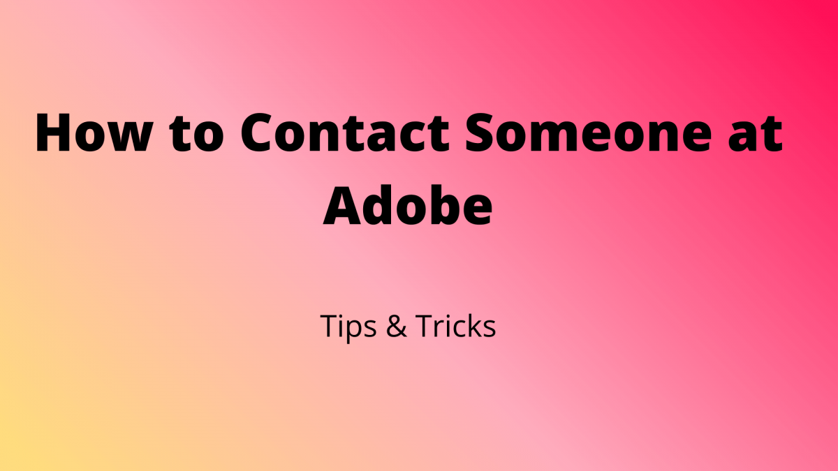 How to Contact Someone at Adobe